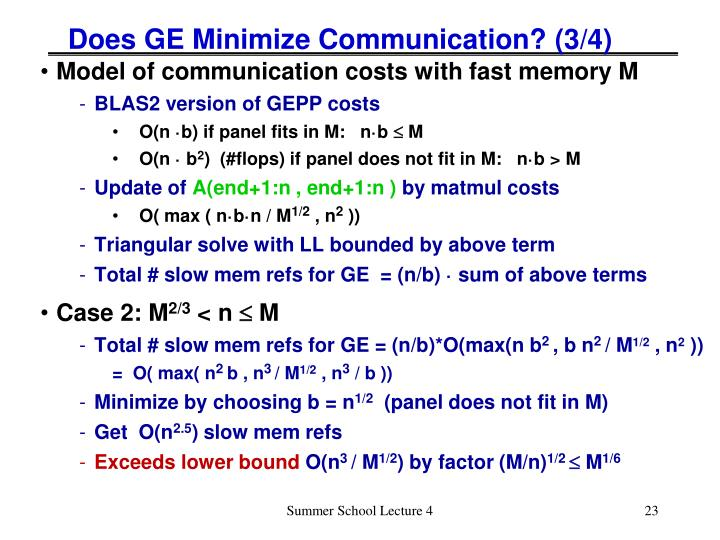 Does GE Minimize Communication? (3/4)