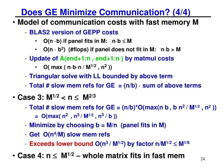 Does GE Minimize Communication? (4/4)