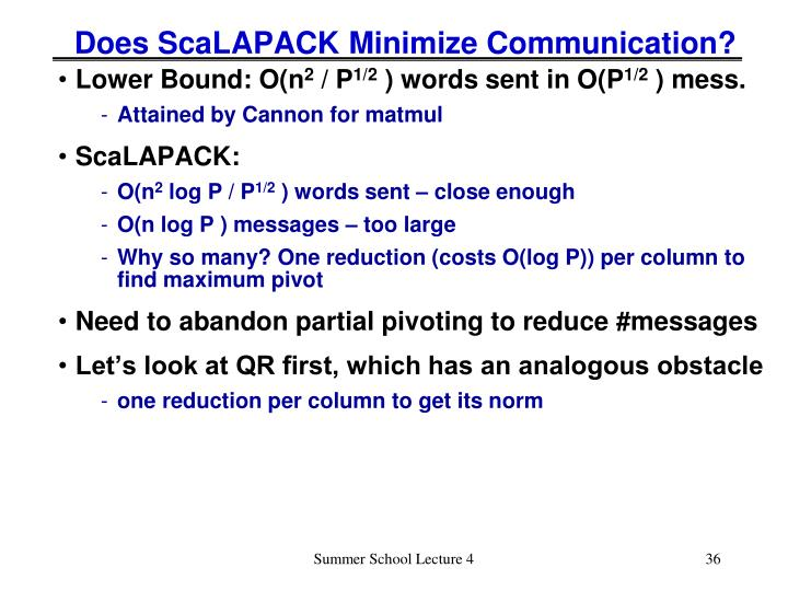 Does ScaLAPACK Minimize Communication?