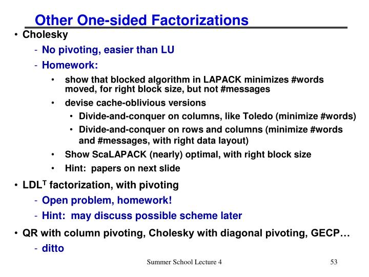 Other One-sided Factorizations