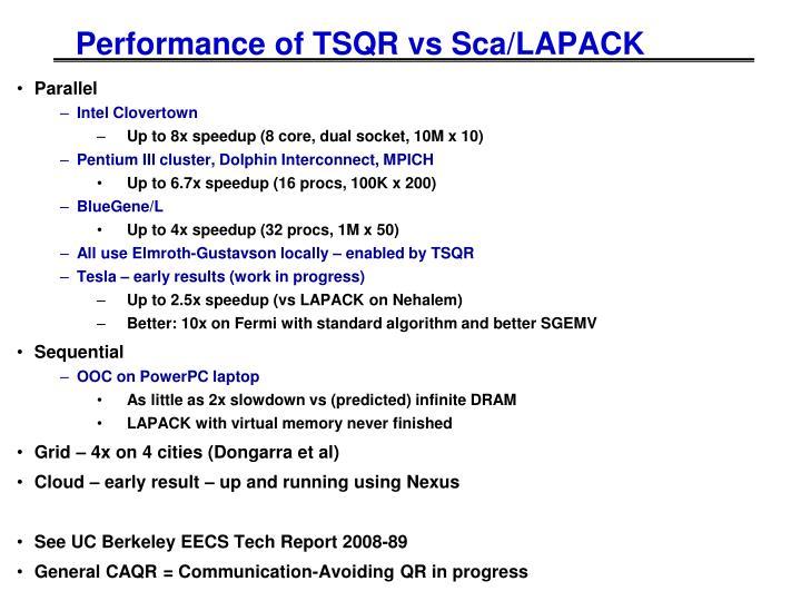 Performance of TSQR vs Sca/LAPACK