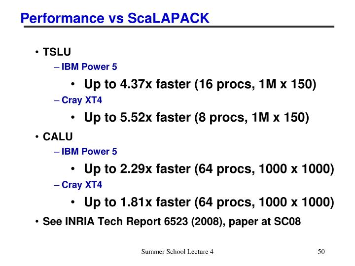 Performance vs ScaLAPACK