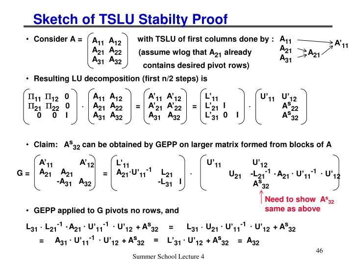 Sketch of TSLU Stabilty Proof
