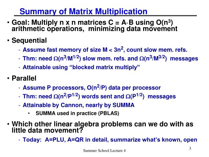 Summary of matrix multiplication