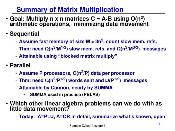 Summary of Matrix Multiplication