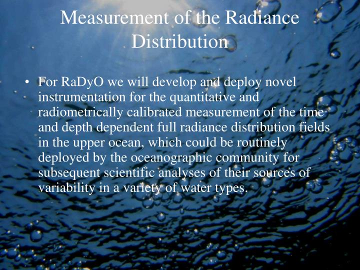 Measurement of the Radiance Distribution