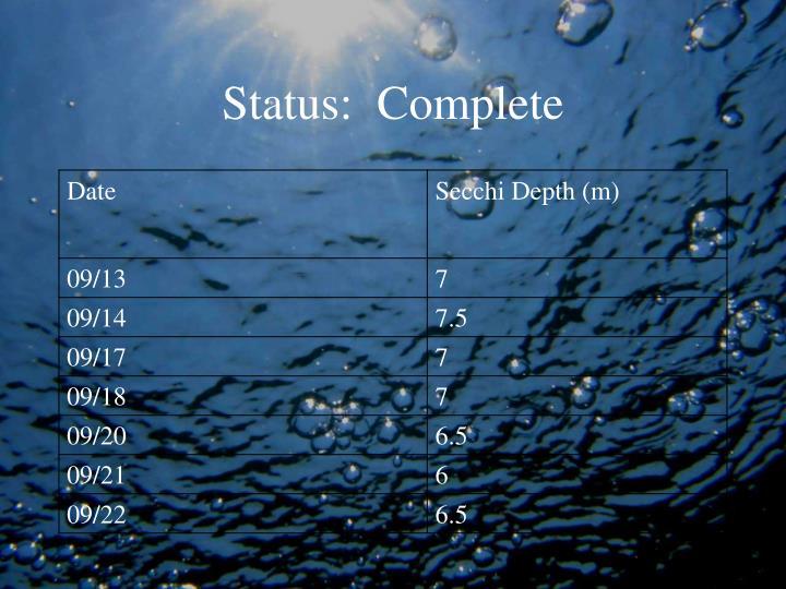 Status:  Complete