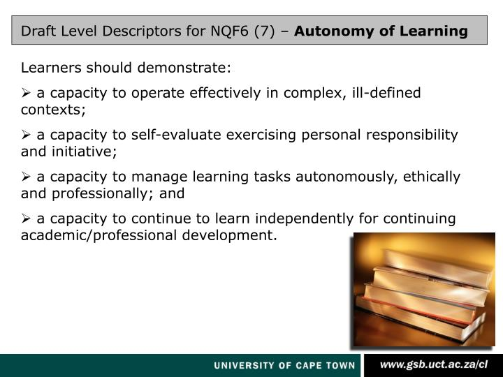 Draft Level Descriptors for NQF6 (7) –