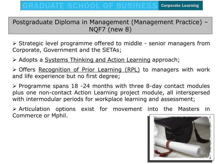 Postgraduate Diploma in Management (Management Practice) –