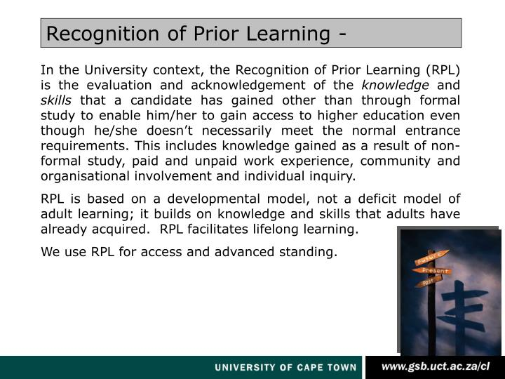 Recognition of Prior Learning -