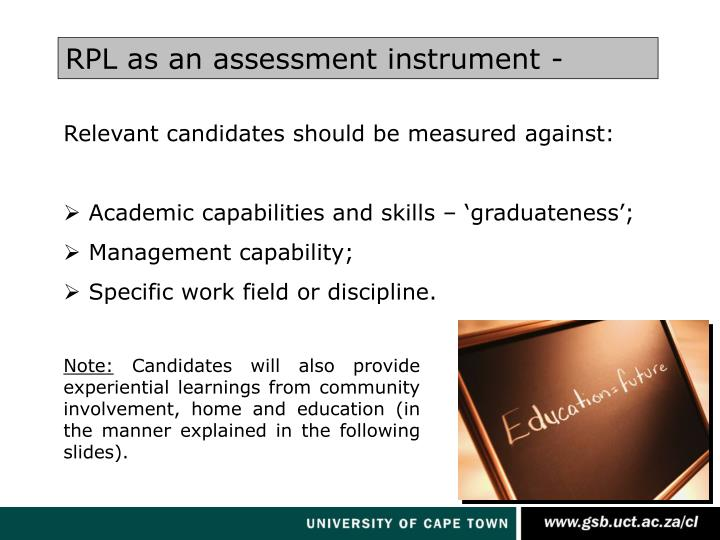 RPL as an assessment instrument -