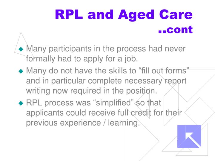 RPL and Aged Care ..