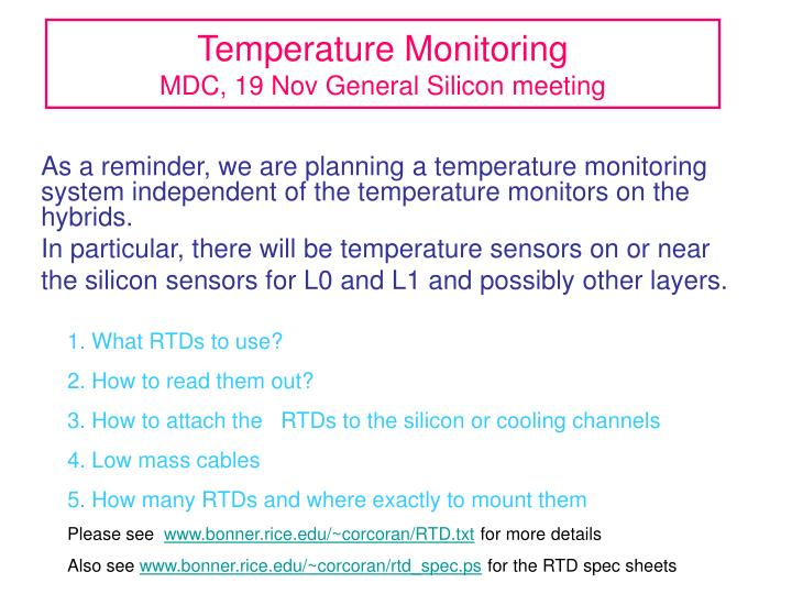 Temperature monitoring mdc 19 nov general silicon meeting