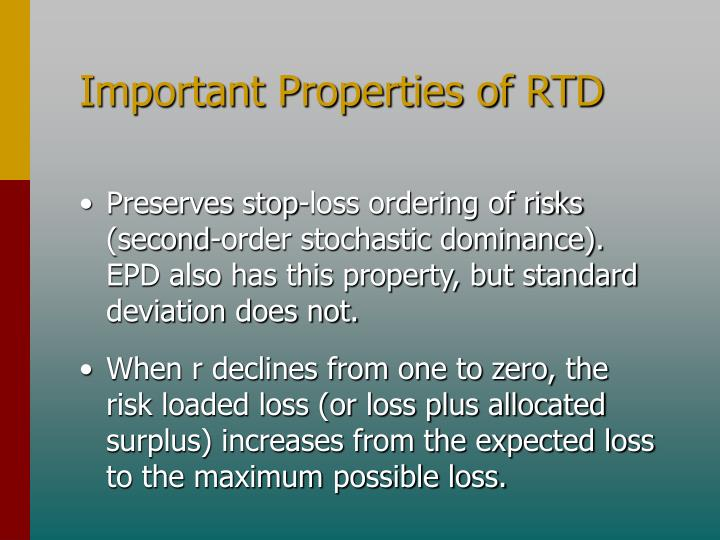 Important Properties of RTD