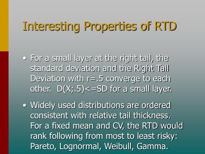 Interesting Properties of RTD
