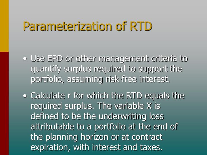 Parameterization of RTD