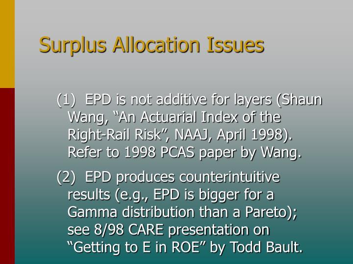Surplus Allocation Issues