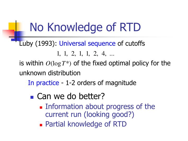 No Knowledge of RTD