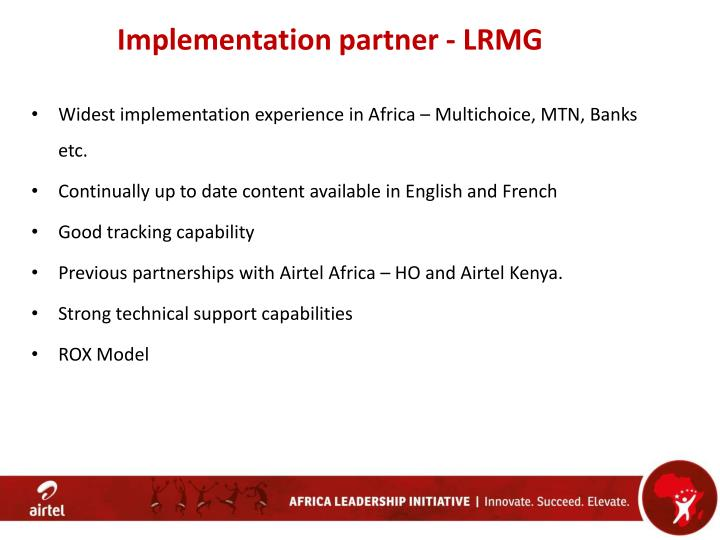 Implementation partner - LRMG