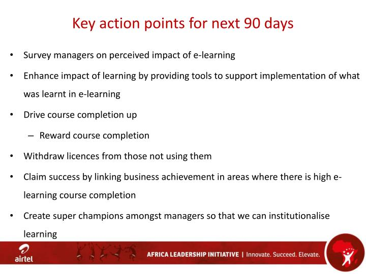 Key action points for next 90 days