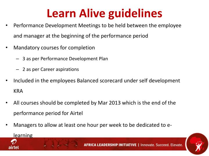 Learn Alive guidelines