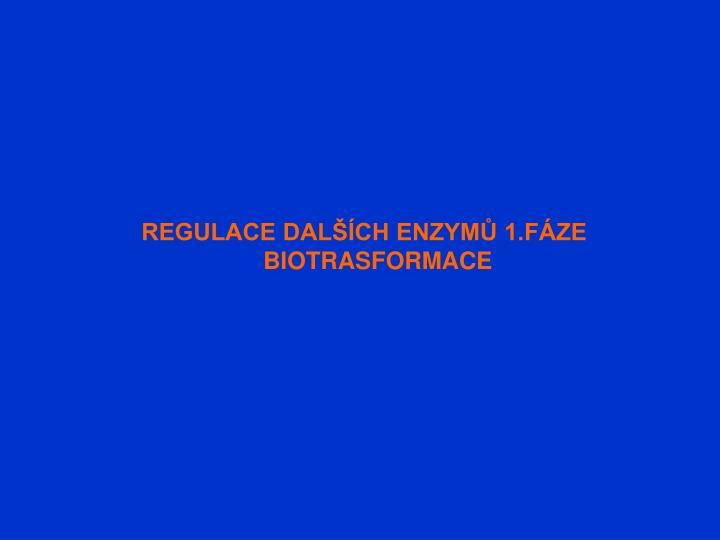 REGULACE DALŠÍCH ENZYMŮ 1.FÁZE BIOTRASFORMACE