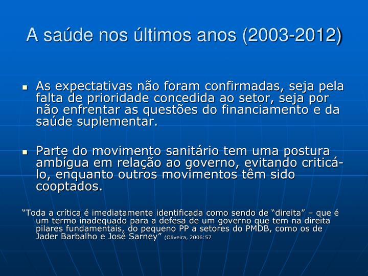 A saúde nos últimos anos (2003-2012)