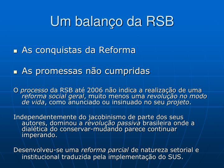 Um balanço da RSB