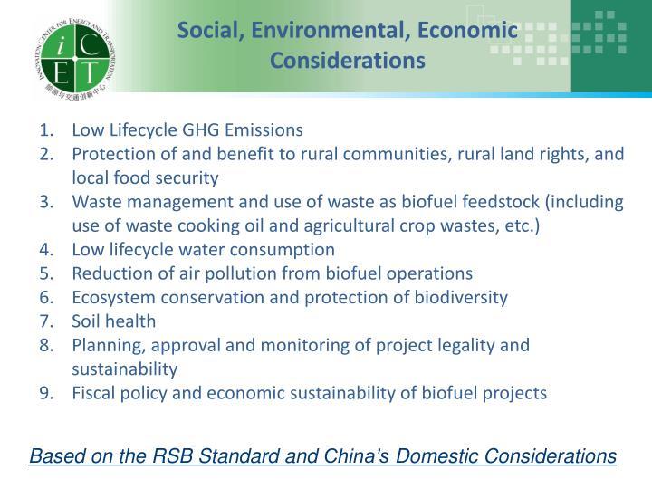 Social, Environmental, Economic Considerations