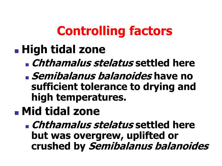 Controlling factors