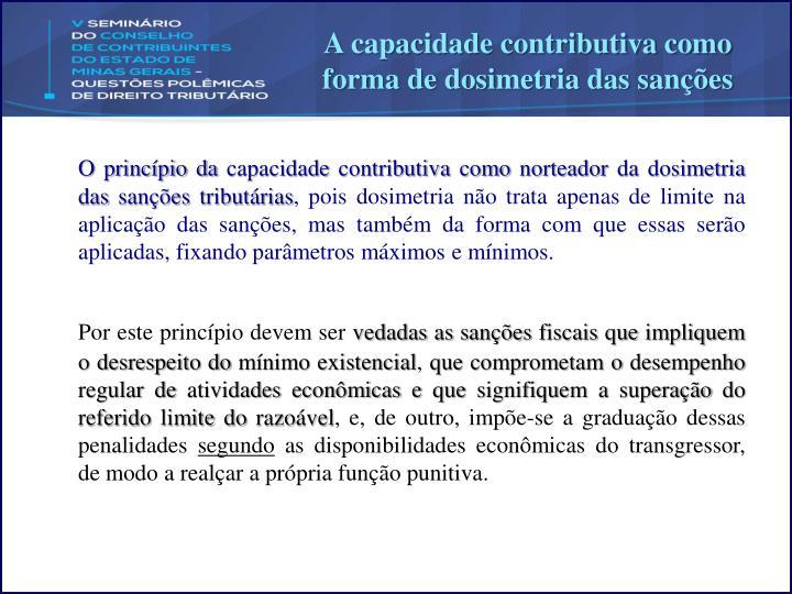 A capacidade contributiva como forma de dosimetria das sanções