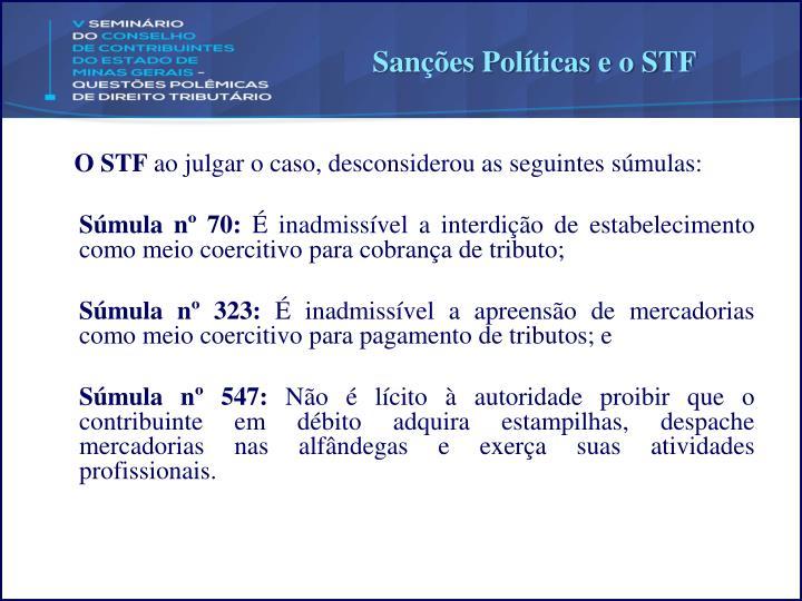 Sanções Políticas e o STF