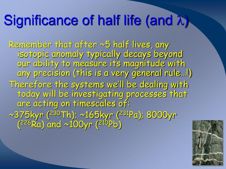 Significance of half life (and