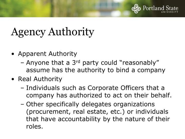 Agency Authority