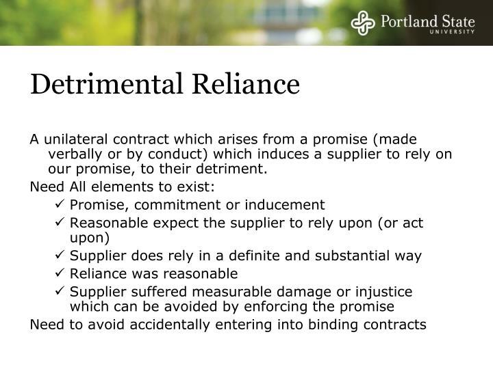 Detrimental Reliance