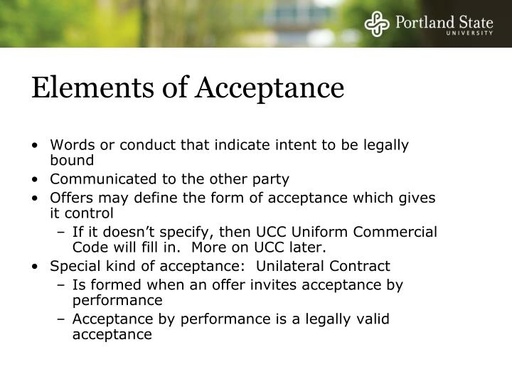 Elements of Acceptance