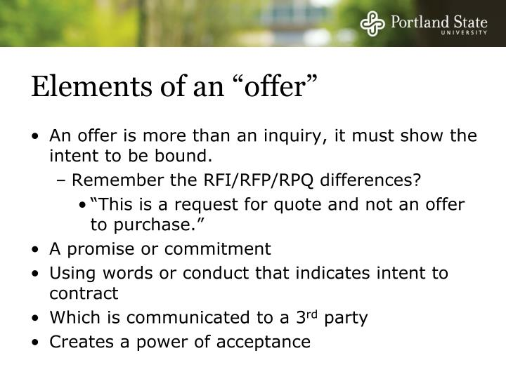 "Elements of an ""offer"""