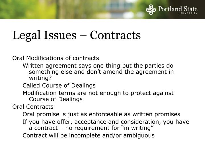 Legal Issues – Contracts