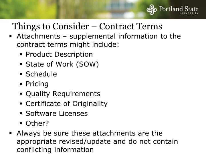 Things to Consider – Contract Terms