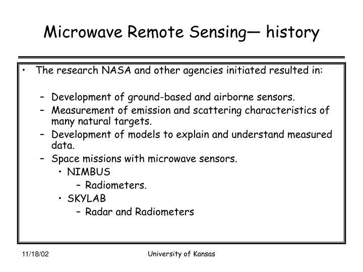 Microwave Remote Sensing— history