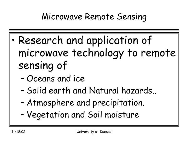 Microwave Remote Sensing