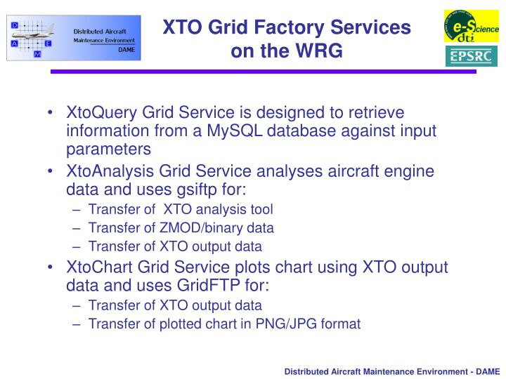 XTO Grid Factory Services on the WRG