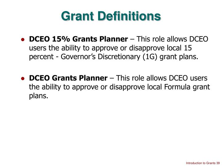 Grant Definitions
