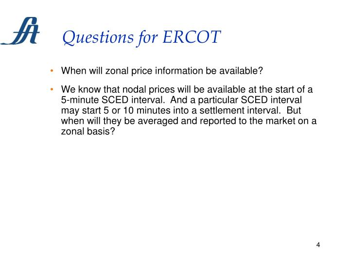 Questions for ERCOT