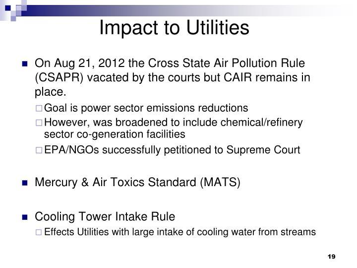 Impact to Utilities