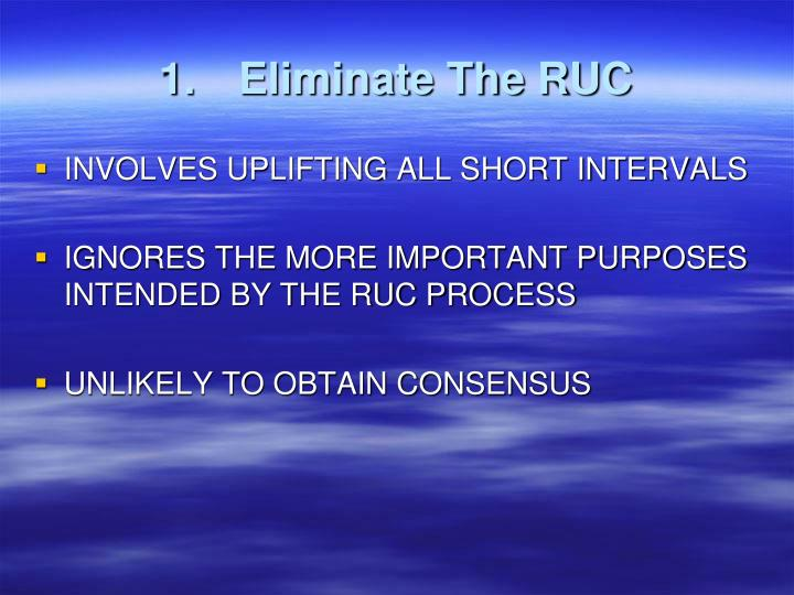 1.	Eliminate The RUC
