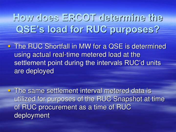 How does ERCOT determine the QSE's load for RUC purposes?