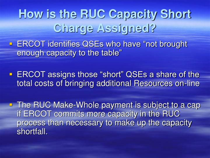 How is the RUC Capacity Short Charge Assigned?
