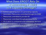 what does ercot rely on in determining if there is a capacity shortage