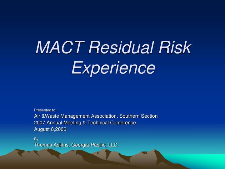 mact ppt The purpose of rice mact is to reduce the emissions of hazardous air  pollutants (haps) from reciprocating internal combustion engines (rice) located  at.
